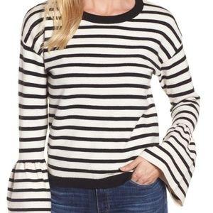 Halogen Bell Sleeve Stripe Black/White Sweater